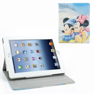 Forever Friends Minnie Mickey Leather Case w/ Stand for iPad 2 / 3 / 4