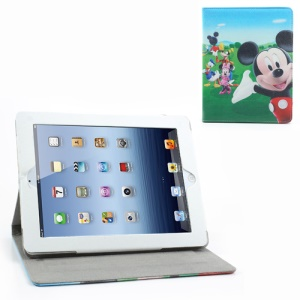 Mickey & Donald Duck Leather Case w/ Stand for iPad 2 / The New iPad / iPad 4