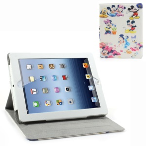 Various Mikey Patterns Leather Shell w/ Stand for iPad 2 / The New iPad / iPad 4