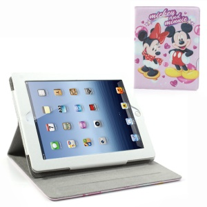 Bowknot Minnie and Mickey Leather Case for iPad 2 / The New iPad / iPad 4