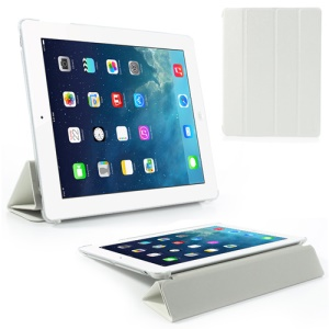 White Four-Fold Silk Grain Leather Stand Case for iPad 2 / The New iPad / iPad 4