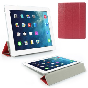 Red Four-Fold Silk Grain Leather Stand Cover for iPad 2 / The New iPad / iPad 4