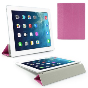 Rose Four-Fold Silk Grain Leather Stand Cover for iPad 2 / The New iPad / iPad 4