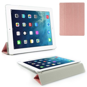 Pink Four-Fold Silk Grain Leather Stand Cover for iPad 2 / The New iPad / iPad 4