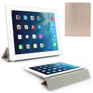 Champagne for iPad 2 / 3 / 4 Four-Fold Silk Grain Leather Stand Cover