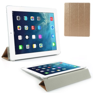 Gold for iPad 2 / 3 / 4 Four-Fold Silk Grain Leather Stand Cover