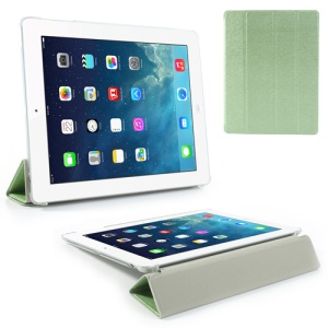 Green for iPad 2 / 3 / 4 Four-Fold Silk Grain Leather Stand Cover