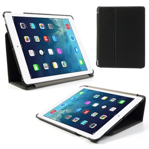 Black Twill Cloth Leather Stand Case for iPad 2 / The New iPad / iPad 4