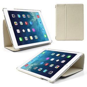 White Twill Cloth Leather Stand Case for iPad 2 / The New iPad / iPad 4