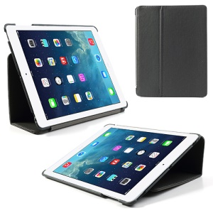 Grey Twill Cloth Leather Stand Cover for iPad 2 / The New iPad / iPad 4
