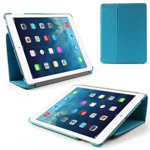 Blue Twill Cloth Leather Stand Cover for iPad 2 / The New iPad / iPad 4