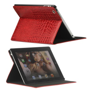 Crocodile Folio Leather Case Stand for New iPad 4th 3rd 2nd Gen - Red