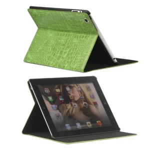 Crocodile Folio Leather Case Stand for New iPad 4th 3rd 2nd Gen - Green