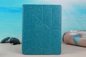 Blue KLX England Series for iPad 2 3 4 Y Shape Stand Leathe Case