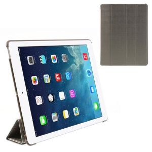 Grey Fancy Four-Fold Stand Leather Case for iPad 2 3 4
