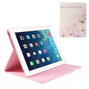 Elegant Flowers Rhinestone Smart Leather Stand Case for iPad 2 / The New iPad / iPad 4 with Retina Display