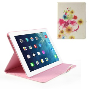 Colorful Flowers Rhinestone Design Magnetic Smart Leather Cover Stand for iPad 2 / The New iPad / iPad 4