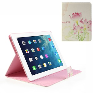 Pink Lotus Flower Rhinestone Wake Up / Sleep Leather Cover Stand for iPad 2 / The New iPad / iPad 4
