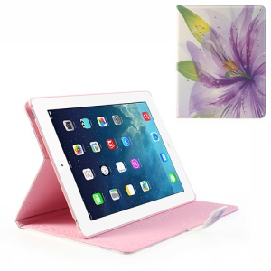 Sparkling Rhinestone Purple Blossom Magnetic Wake Up / Sleep Leather Cover Stand for iPad 4 3 2