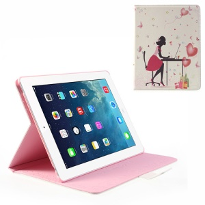 For iPad 4 3 2 Fashion Lady Heart Ballons Wake Up / Sleep Rhinestone Leather Case Stand