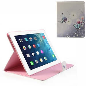 For iPad 4 3 2 Smart Awakening Beautiful Flower & Butterfly Rhinestone Leather Case Stand