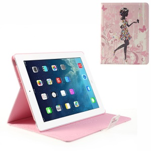 For iPad 4 3 2 Girl in Flower Dress Bling Bling Diamond Smart Leather Skin Cover