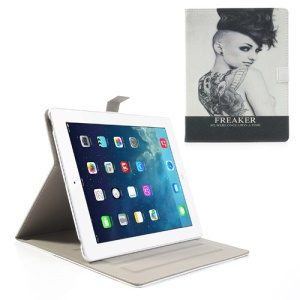 For iPad 4 3 2 Freaker Beauty Cross Grain Folio Leather Cover Stand