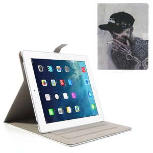 For iPad 4 3 2 Skeleton Smoking Cross Grain Folio Leather Cover Stand
