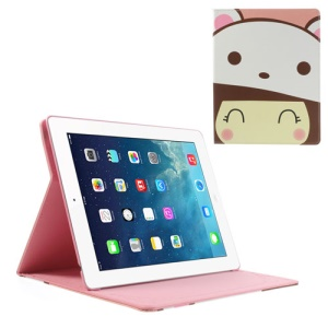 Little Girl Wearing White Bear Hat Stand Leather Smart Shell for iPad 4 3 2