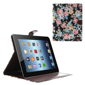 Black for iPad 2 3 4 Flower Cloth Leather Wallet Case w/ Stand
