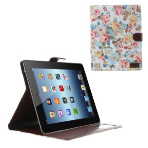 White for iPad 2 3 4 Flower Cloth Leather Wallet Case w/ Stand