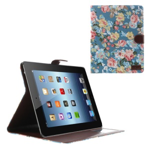 Blue for iPad 2 3 4 Flower Cloth Leather Wallet Cover w/ Stand