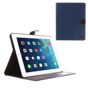 Jeans Cloth Skin Smart Leather Shell Stand for iPad 4 3 2 w/ Card Slots - Dark Blue