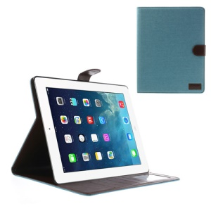 Jeans Cloth Skin Smart Leather Cover Case for iPad 4 3 2 w/ Card Slots - Baby Blue