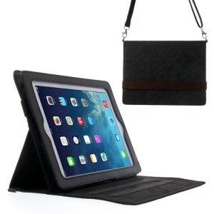 Diagonal Stripe Smart Leather Case for iPad 4 3 2 w/ Shoulder Strap - Black