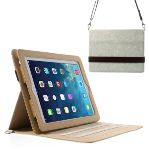 Diagonal Stripe Smart Leather Shell for iPad 4 3 2 w/ Shoulder Strap - Light Grey