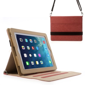 Diagonal Stripe Smart Leather Cover for iPad 4 3 2 w/ Shoulder Strap - Red