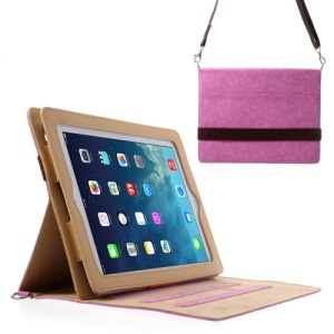 Diagonal Stripe Smart Leather Case for iPad 4 3 2 w/ Shoulder Strap - Orchid