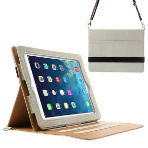 Lizard Stripe Smart PU Leather Case for iPad 4 3 2 w/ Shoulder Strap - White