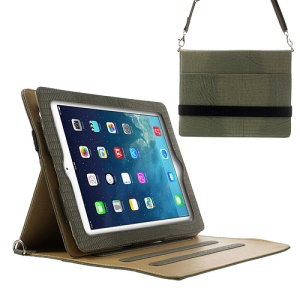 Lizard Stripe for iPad 4 3 2 Smart Leather Cover w/ Shoulder Strap - Slate Grey