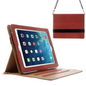 Lizard Stripe Stand Leather Smart Case for iPad 4 3 2 w/ Shoulder Strap - Red