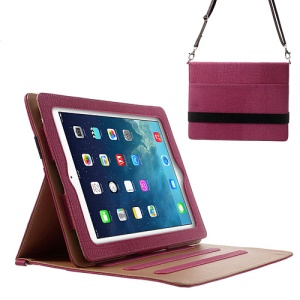 Lizard Stripe for iPad 4 3 2 Smart Leather Stand Cover w/ Shoulder Strap - Rose
