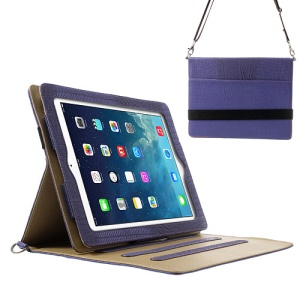 Lizard Stripe Smart Leather Case Cover for iPad 4 3 2 w/ Shoulder Strap - Purple