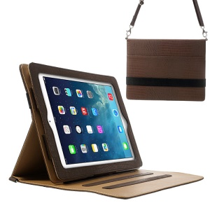Lizard Stripe for iPad 4 3 2 Smart PU Leather Shell w/ Shoulder Strap - Coffee