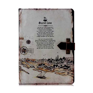 Roman Times Retro Smart Leather Shell Stand for iPad 4 3 2 w/ Genuine Leather Magnetic Flap