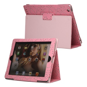 Glittery Flora Leather Stand Case for New iPad 2 3 4 - Pink