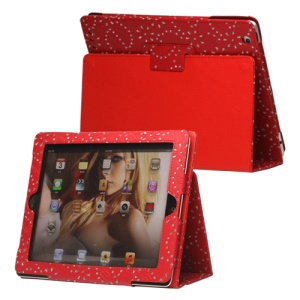 Glittery Flora Leather Stand Case for New iPad 2 3 4 - Red