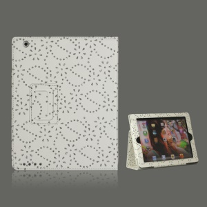Glittery Flora Leather Case with Stand for iPad 2 The New iPad / iPad 4 - White