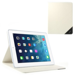 Krcase Sand-like Texture Smart Leather Stand Case for iPad 2 3 4 with 3 Card Slots - White