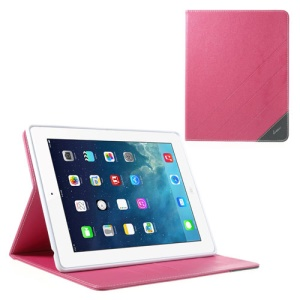 Krcase Sand-like Texture Protective Leather Smart Case Stand for iPad 2 3 4 - Rose